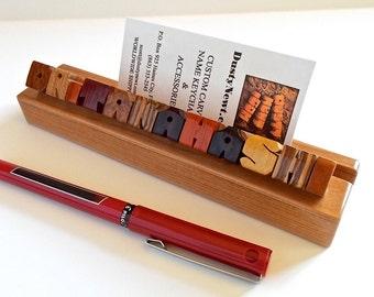 Desk Name & Business Card Holder, Exotic Woods Sampler on Cherry Base, Custom Carved to Order