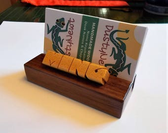 Desk Name and Business Card Holder, Pau Amarello and Walnut Woods, Custom Carved to Order