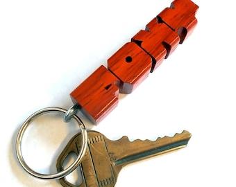 Name Keychain in Paduak Wood, Custom Carved to Order
