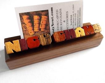 Desk Name / Business Card Holder, Exotic Wood Sampler on Walnut, Custom Carved to Order