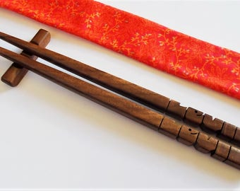 Chopsticks in Walnut Wood, Personalized, Custom Carved to Order