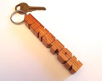 Economy Wood Name Keychain, Upcycled Rescued Hardwood, Custom Carved to Order