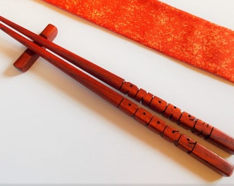 Name Chopsticks in Paduak Wood, Personalized, Custom Carved to Order