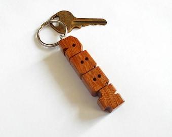 Name Keychain in Cumaru Wood, Custom Carved to Order