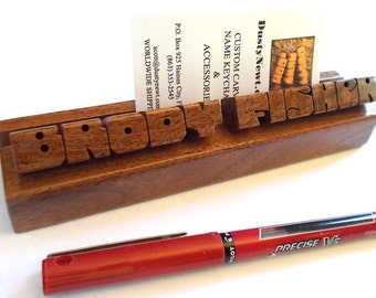 Business Card Holder with Name, Walnut Wood, Custom Carved to Order