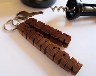 Name Keychain, Napa Wine Barrel Oak Stave, Recycled Wood, Custom Carved to Order