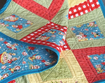 Retro Rocket Rascals 45x36 baby quilt crib toddler stroller