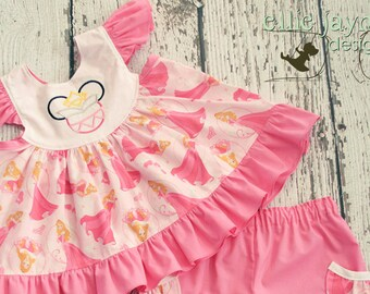 Sleeping Beauty Aurora Butterfly Flutter Sleeve top and shorts  Custom Sizes