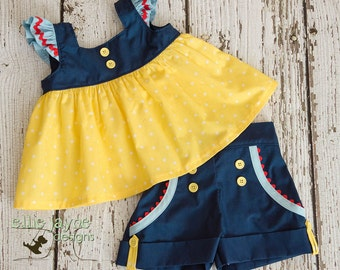 Fairest of Them All Tilly top and Sailor shorts RTS Ready to Ship size 12M