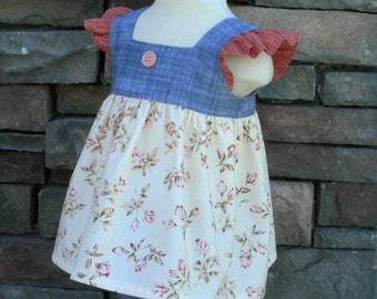 Chambray Chic Tilly top and matching Darby Shorts RTS Ready to Ship ON SALE