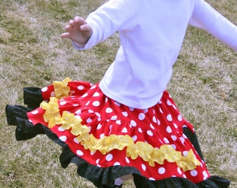 Minnie Mouse Dots Tiered Twirl Skirt