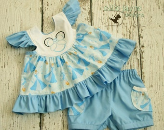 Cinderella Butterfly Flutter Sleeve top and shorts  Custom Sizes