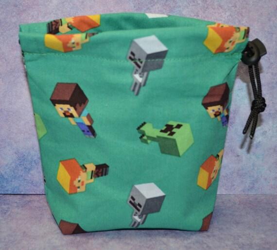 Sac à dés cordon Minecraft caractères tissu pour RPG/Légion/Test d'honneur/Bolt Action