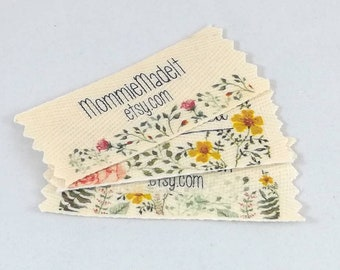Organic Cotton Twill Ribbon Labels Customized with Watercolor Floral Design or Your Brand