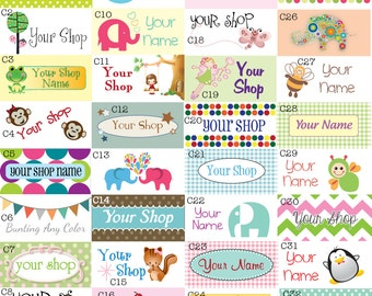Custom Made Fabric Labels - Sew-On OR Iron-On - Uncut - Free Customization Using Any Premade Design Shown
