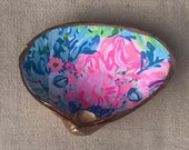 Decoupage Large Clam Shell with Lilly Fabric