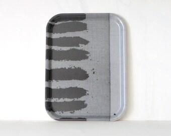 Wood TV Tray -  melamine platter  - small  tray  -  gray black - kitchen decor