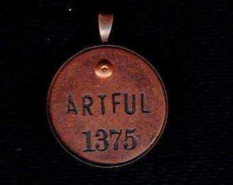 Handmade Cold Connection Artful Pendant Charm Antique Copper