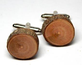 Rustic Peach Twig Wooden Cuff-links by Tanja Sova