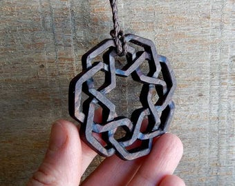 Mandala Tribal Carved Maple Wooden Necklace by Tanja Sova