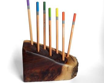 Tiramisu - Bozidarov Orah No 8 - Live Edge Walnut Desktop Pencil Holder or Feather Display by Tanja Sova