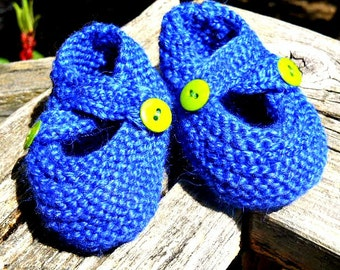 Hand Knitted Double Strap Baby Booties
