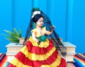 e81862f5cadd FREE SHIPPING-Vintage Small Spanish Flamenco Dancer Doll-Authentic Original  Clothing-Collectible-Spanish Souvenir Doll-Like New