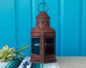 SALE-FREE SHIPPING-Vintage quot Hard to Find quot Nautical Kerosene Port Starboard Signal Lantern-Blue and Red Lens-Ship Boat Oil Lamp-Maritime