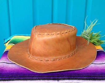 f66f338290a SALE-FREE SHIPPING-Vintage Genuine Leather Hat-Made Mexico-Flat Brimmed  Cowboy Hat-Thick Lacing-Hippie-Boho-Rancher Style Hat-Festival Hat