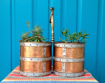 FREE SHIPPING-Vintage Unique Handcrafted Double Riveted Copper & Galvanized Container-Copper Planter-Double Copper Wine Bucket-Steam Punk