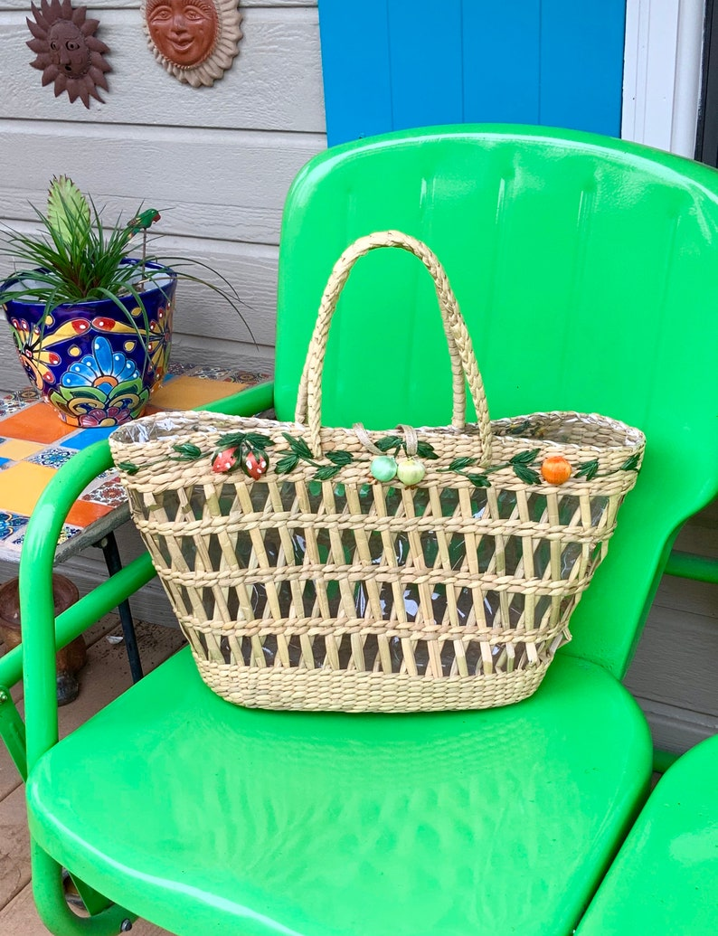 FREE SHIPPING-Vintage Large 19\u201d Straw and Raffia Boho ToteBagPurse-Adorned with Woven Raffia Fruit-Lined with Clear Plastic-Market Tote