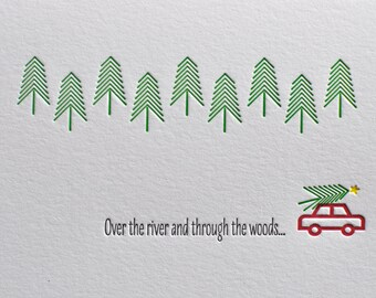 Over the River and Through the Woods Letterpress Card & Envelope