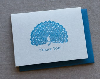 """Peacock """"Thank You"""" Letterpress Greeting Card with Envelope"""