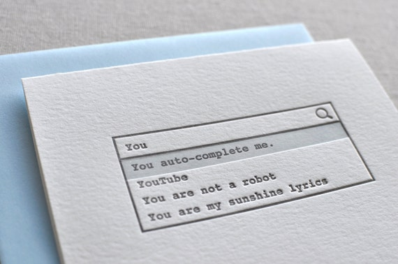 You auto complete me letterpress card envelope etsy reheart Images