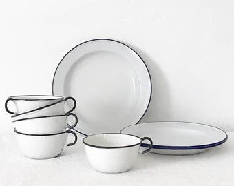 Enamelware Vintage White/Blue/Black Enamelware Dishes Plates Cups Mugs Set Rustic Farmhouse Primitive Country holiday table / holiday decor