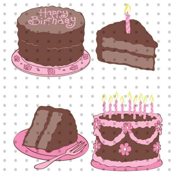 Birthday Cake Royalty Free Clipart Set Etsy