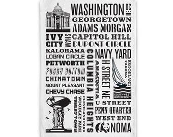 Washington DC District of Columbia Neighborhoods Tea Towel/ Dish Towel
