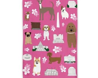 Cherry Blossom DC Puppies Tea Towel/ Dish Towel