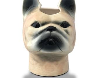 Long Neck Vase: Frenchie French Bulldog Vase