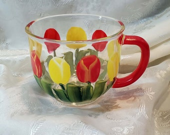 Hand Painted Large Glass Tea Cup With Red and Yellow Tulips