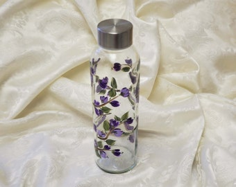 Hand Painted Glass Water Bottle With Purple Blooms On A Vine