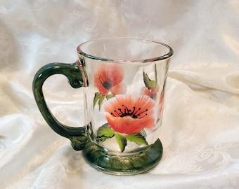 Hand Painted Glass Coffee Cup or Mug