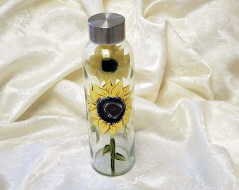 Glass Water Bottle Hand Painted With Sunflowers Empty/Refillable