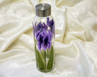 Glass Water Bottle Hand Painted With Purple Iris Empty/Refillable