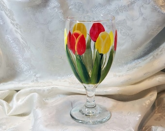 Red And Yellow Tulip Glass Goblet