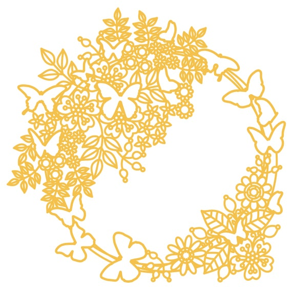 Flower And Butterfly Wreath Cut File Zip Folder With Svg Etsy