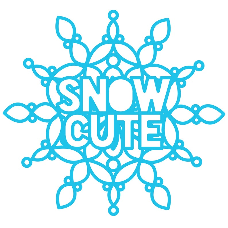 Snow Cute Digital Cut File zip folder with .svg .dxf .png image 0