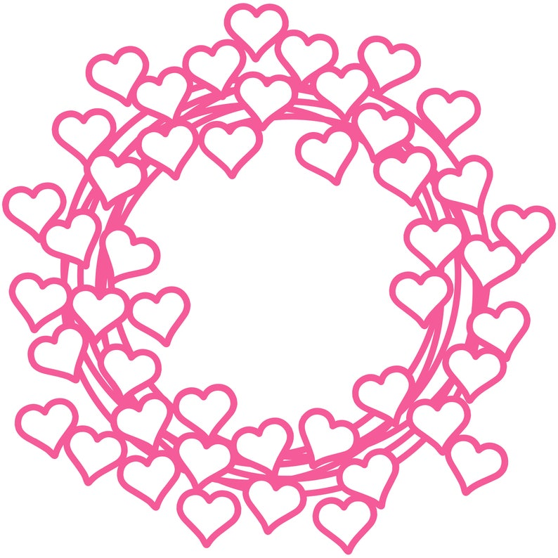 Heart Wreath Cut File .SVG .DXF .PNG image 0