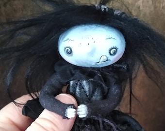 "Miniature art doll ""Anita"" Goth posable Bjd  prop anime cat ears figurine handmade halloween"