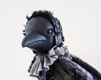 "crow art doll 8"" tall companion for my line of mini dolls bird seasonal halloween bjd prop black bird posable"